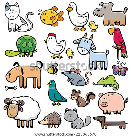 Vector Illustration of Cartoon animals - stock vector