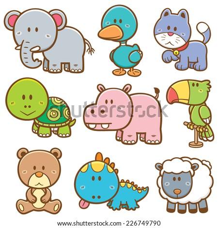 Vector Illustration of Cartoon animals - stock vector