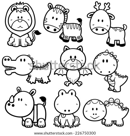 Vector Illustration of Cartoon animals - Coloring book - stock vector