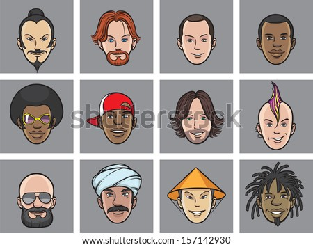 Vector illustration of Cartoon avatar eccentric faces. Easy-edit layered vector EPS10 file scalable to any size without quality loss. High resolution raster JPG file is included. - stock vector
