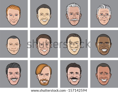Vector illustration of Cartoon avatar smiling men heads. Easy-edit layered vector EPS10 file scalable to any size without quality loss. High resolution raster JPG file is included. - stock vector
