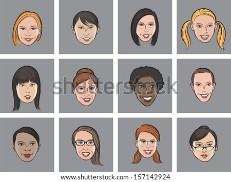 Vector illustration of Cartoon avatar various women faces. Easy-edit layered vector EPS10 file scalable to any size without quality loss. High resolution raster JPG file is included. - stock vector