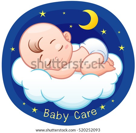 Vector illustration cartoon baby sleeping on stock vector vector illustration of cartoon baby sleeping on a cloud voltagebd Image collections