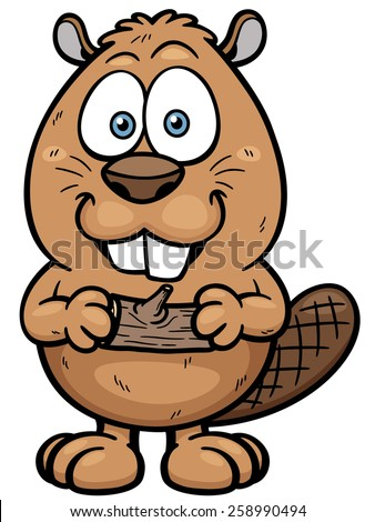Vector illustration of Cartoon beaver with a wood - stock vector