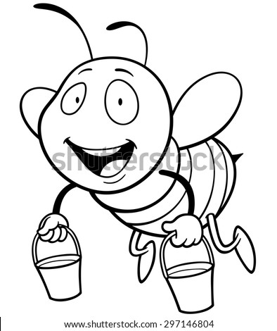 Vector illustration of Cartoon Bee holding honey bucket - Coloring book - stock vector