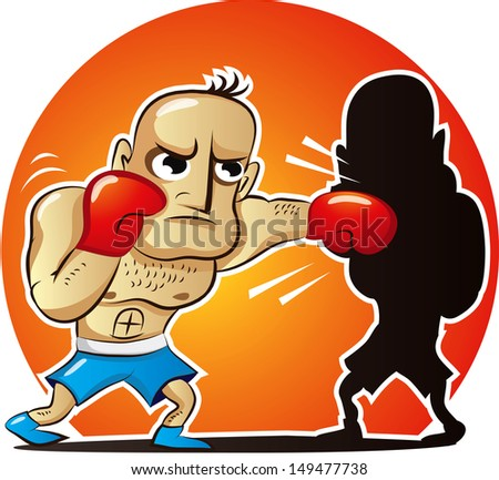 Vector illustration of cartoon boxer fights own shadow - stock vector