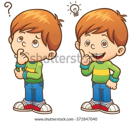 Vector illustration of Cartoon Boy thinking - stock vector