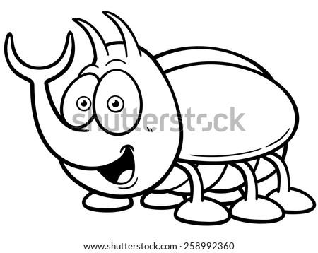 Vector illustration of cartoon bug - Coloring book - stock vector