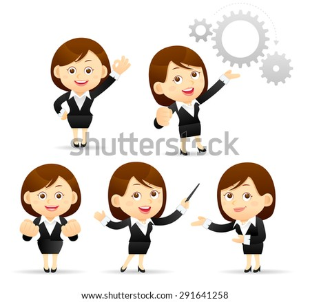 Vector Illustration of cartoon businesswoman set - stock vector