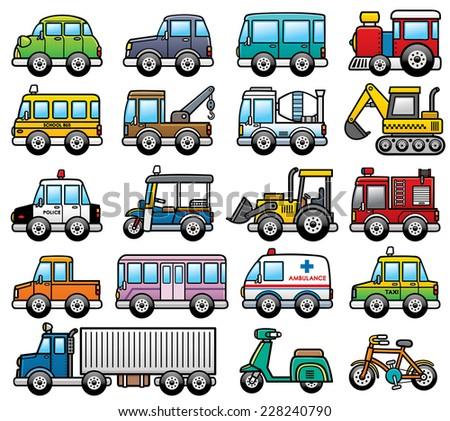 Vector Illustration of cartoon Car set - stock vector