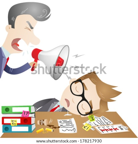 Vector illustration of cartoon characters: Boss yelling through megaphone at sleeping employee at the office. - stock vector