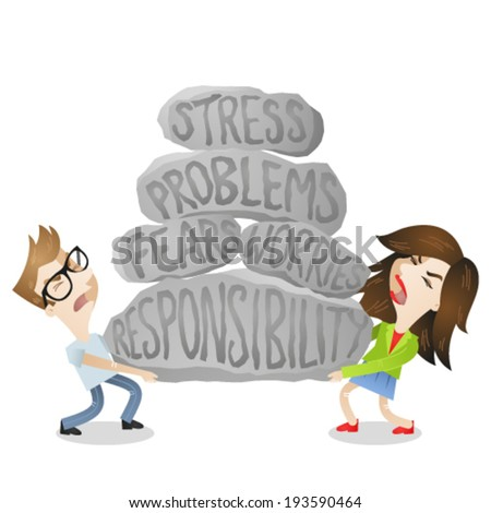 Vector illustration of cartoon characters: Young man and woman, couple, lifting heavy rocks labeled stress, problems, fears, worries, responsibility. - stock vector