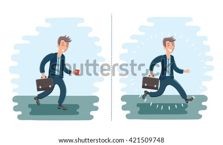 Vector illustration of cartoon cheerful man and exhausted man - stock vector