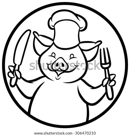 Vector illustration of Cartoon chef pig with fork and knife - stock vector