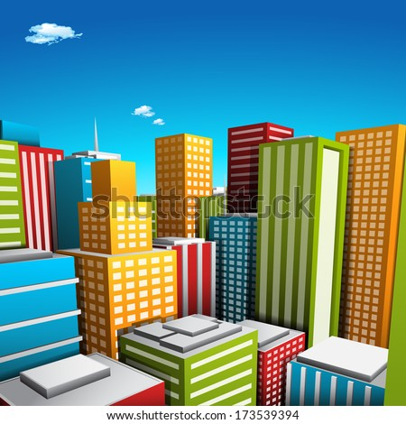 Vector illustration of cartoon city.  - stock vector