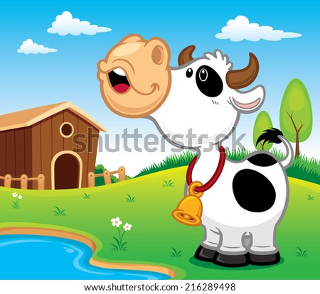 Vector illustration of Cartoon Cow - stock vector