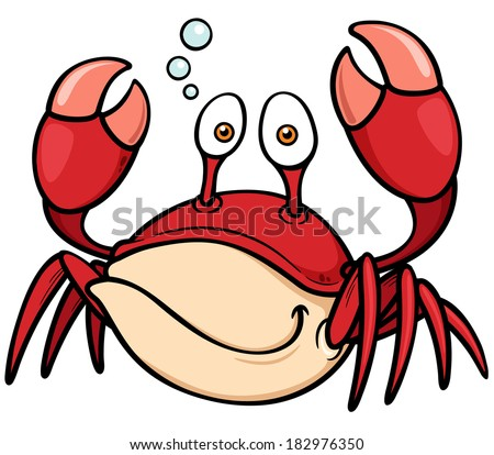 Vector illustration of Cartoon crab - stock vector