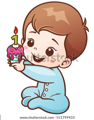 Vector Illustration Cartoon Cute Baby Holding Stock Vector 551799433
