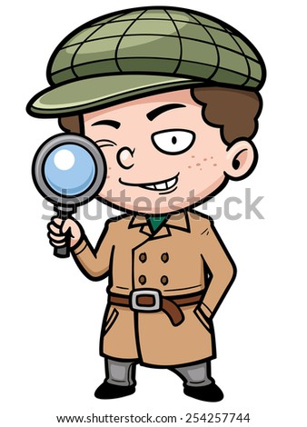 Vector illustration of Cartoon detective with magnifying glass - stock vector