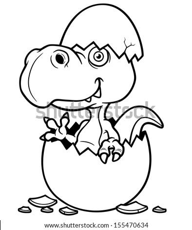 Vector illustration of Cartoon Dinosaur baby - Coloring book - stock vector