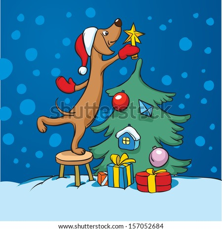 Vector illustration of cartoon dog arranging christmas tree. Easy-edit layered vector EPS10 file scalable to any size without quality loss. High resolution raster JPG file is included. - stock vector