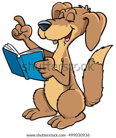 vector illustration cartoon dog reading book stock vector 499030936 rh shutterstock com Dog Reading a Book Panta Reading Clip Art