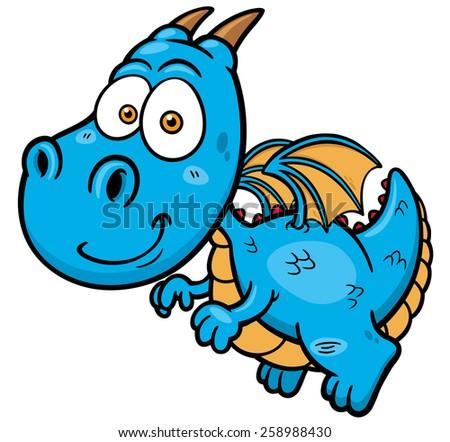 Vector illustration of Cartoon dragon - stock vector