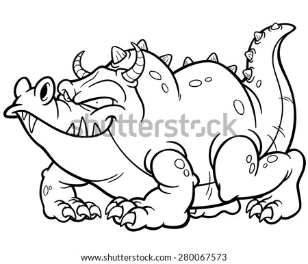 Vector illustration of Cartoon dragon - Coloring book