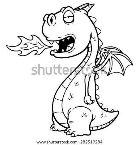 Vector illustration of Cartoon dragon. Coloring book - stock vector