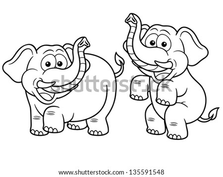 Vector illustration of Cartoon Elephant - Coloring book