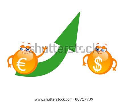 Vector illustration of cartoon euro with green rising arrow - stock vector