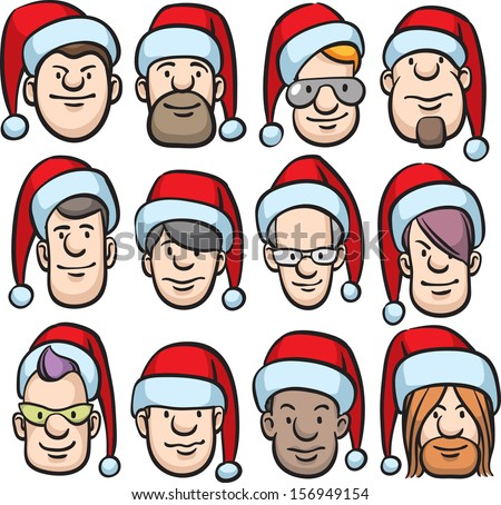 Vector illustration of cartoon faces in santa hat. Easy-edit layered vector EPS10 file scalable to any size without quality loss. High resolution raster JPG file is included. - stock vector