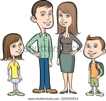 Vector illustration of cartoon family - stock vector