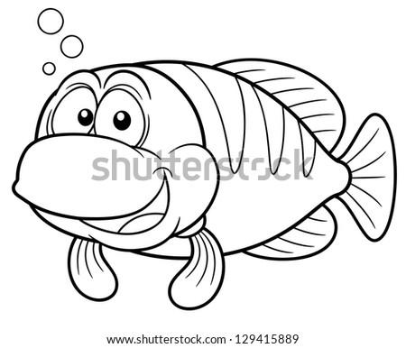 Vector Illustration Cartoon Fish Coloring Book Stock Vector ...