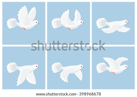 Vector illustration of cartoon flying dove animation sprite - stock vector