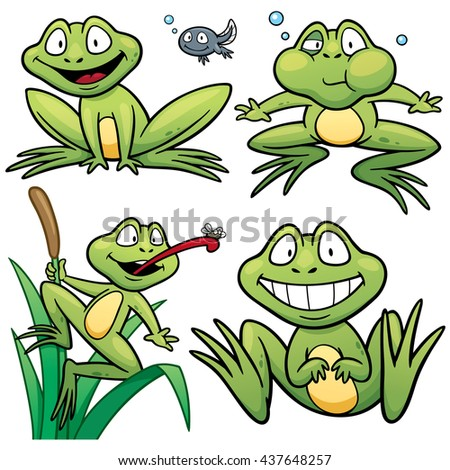 Vector illustration of Cartoon Frog Character Set
