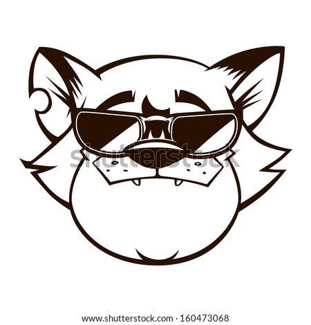 vector illustration of cartoon gangster cat with the sunglasses - stock vector