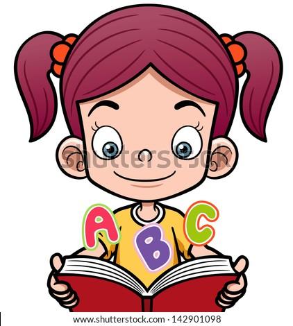 Vector illustration of cartoon girl reading a book - stock vector