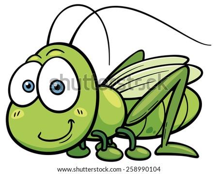 Vector illustration of cartoon Grasshopper - stock vector