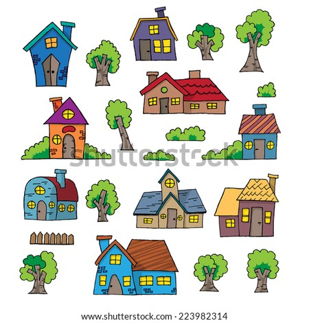 Vector illustration of cartoon hand drawn house design element.