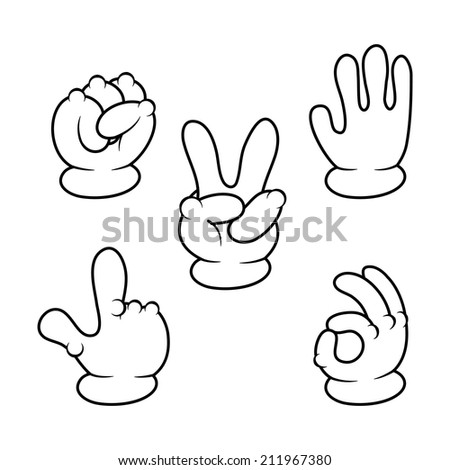 Vector illustration of Cartoon hands sign collection - stock vector
