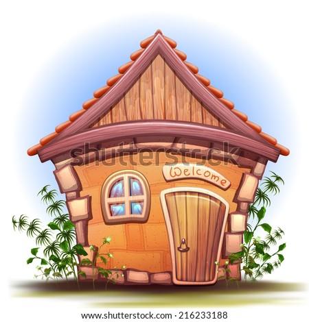 Vector illustration of cartoon home - stock vector
