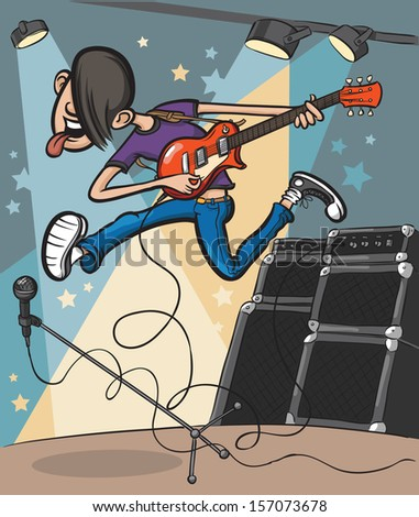 Vector illustration of cartoon jumping guitarist on stage. Easy-edit layered vector EPS10 file scalable to any size without quality loss. High resolution raster JPG file is included. - stock vector