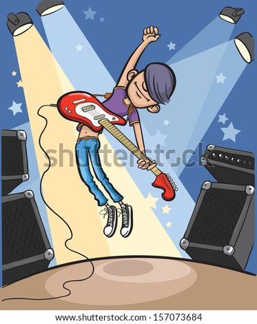 Vector illustration of Cartoon jumping rock guitarist. Easy-edit layered vector EPS10 file scalable to any size without quality loss. High resolution raster JPG file is included. - stock vector
