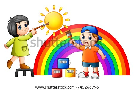 vector illustration of cartoon kids painting rainbow and sun - Cartoon Painting For Kids