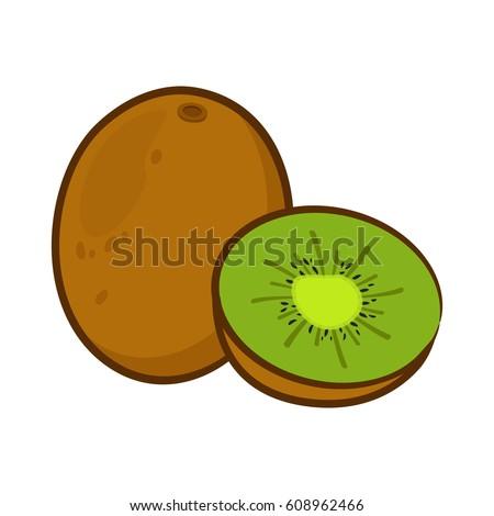 vector illustration cartoon kiwi stock vector 608962466 shutterstock rh shutterstock com cartoon kiwi slice cartoon kiwi fruit
