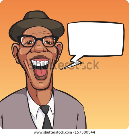 Vector illustration of cartoon laughing black man in hat with speech bubble. Easy-edit layered vector EPS10 file scalable to any size without quality loss. High resolution raster JPG file is included. - stock vector