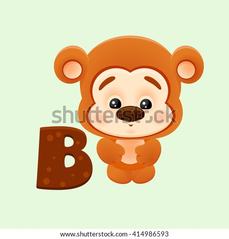 Vector illustration of cartoon letter B with cute little bear