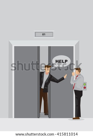 Vector illustration of cartoon man behind jammed elevator door trapped inside fit and calling out for help.  - stock vector