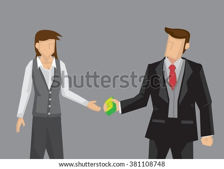 Vector illustration of cartoon man handing dollar notes and woman accepting it isolated on grey background.  - stock vector